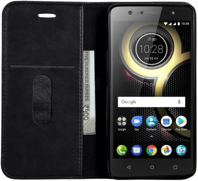 VeeGee Wallet Case Cover for Lenovo K8 Plus(Black, Magnetic Case)
