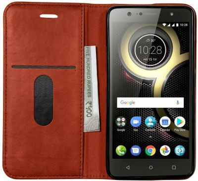 VeeGee Wallet Case Cover for Lenovo K8 Plus(Brown, Magnetic Case)