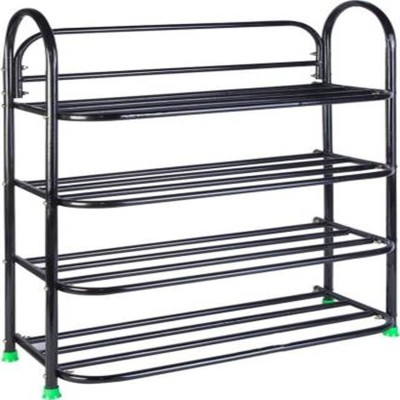 CMerchants Space Saving Storage Organiser-4 Metal Collapsible Shoe Stand(Black, 4 Shelves)