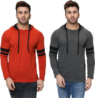 Tivy Striped Men Hooded Neck Red, Grey T-Shirt(Pack of 2)