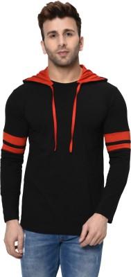 Adorbs Color Block Men Hooded Neck Black, Red T-Shirt