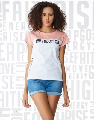 Metronaut Printed Women Henley Neck White, Pink T-Shirt