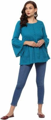 Hhichkki Casual Bell Sleeve Solid Women Blue Top