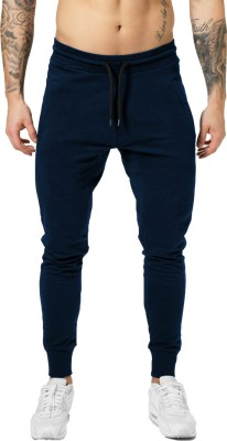 JUGULAR Solid Men Dark Blue Track Pants
