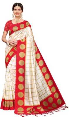 Saara Printed, Checkered Kanjivaram Silk Blend, Art Silk Saree(Multicolor, Red, White)