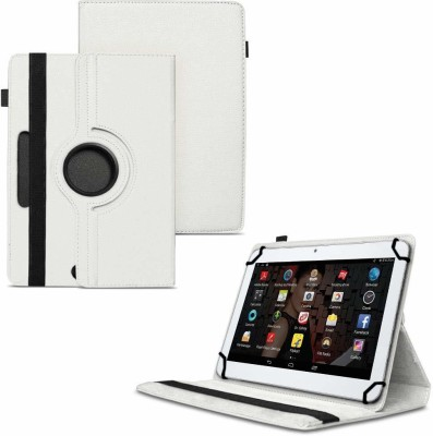 TGK Flip Cover for IBALL Slide 3G 1026-Q18 (10.1 inch) Tablet / Rotating Leather Stand Case(White, Shock Proof)