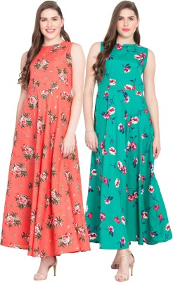 Rudraaksha Women Gown Multicolor Dress