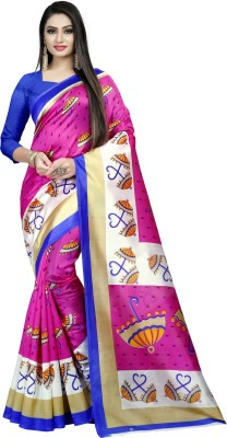 E Vastram Printed Bollywood Art Silk Saree Pink