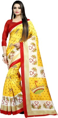 E Vastram Printed Fashion Art Silk Saree Yellow