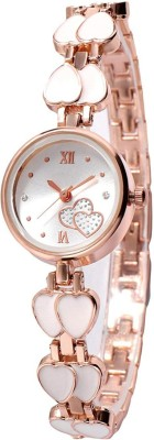 Varni Retail Attrective Desingner White Double Hart Rosegold Watch For Gitls And Woman Analog Watch  - For Girls