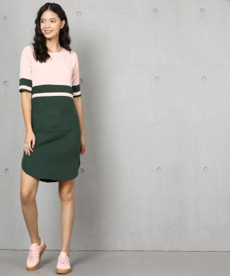 Metronaut Women Shift Green, Pink Dress