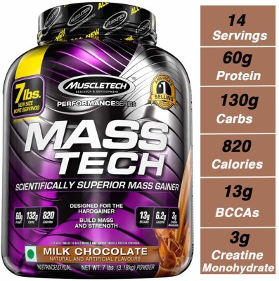 Muscletech Performance Series Masstech Weight Gainers/Mass Gainers(3.18 kg, Milk Chocolate)