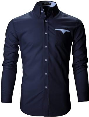 FINIVO FASHION Men Solid Casual Dark Blue Shirt