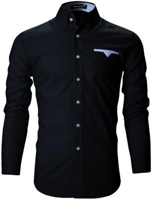 FINIVO FASHION Men Solid Casual Black Shirt