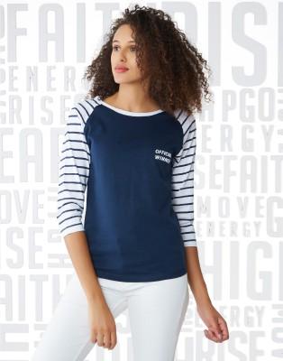 Metronaut Color Block, Striped Women Round Neck Multicolor T-Shirt