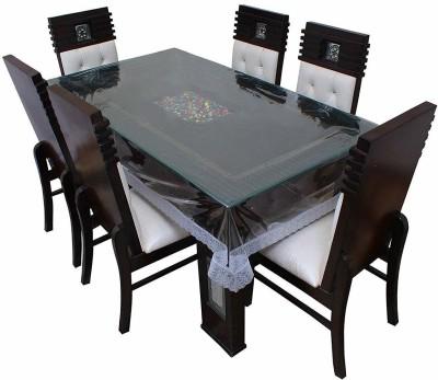 Tagve Floral 6 Seater Table Cover(Transparent, PVC)