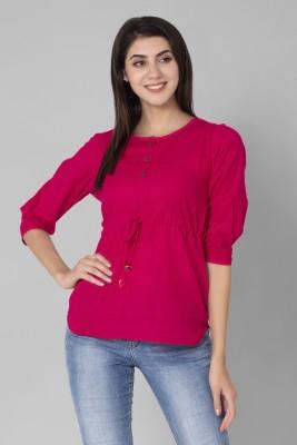 Anuttara Fashions Casual 3/4 Sleeve Solid Women Pink Top Anuttara Fashions Women's Tops