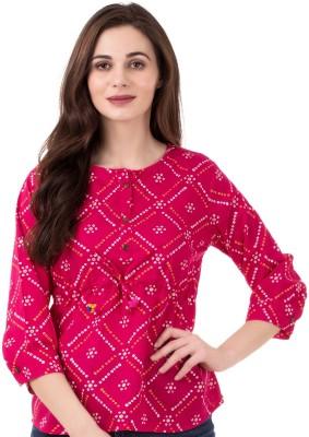 Anuttara Fashions Casual 3/4 Sleeve Printed Women Multicolor Top
