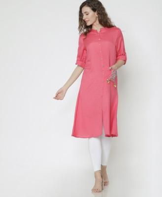 Morpankh Women Self Design A-line Kurta(Pink)