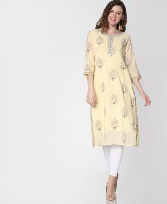 Morpankh Women Printed Straight Kurta(Yellow)