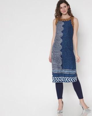 Morpankh Women Embroidered Straight Kurta(Blue)