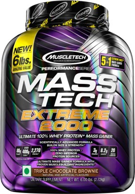 Muscletech Performance Series Tech Extreme 2000 Weight Gainers/Mass Gainers(2.72 kg, Triple Chocolate Brownie)