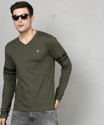 Goldstroms Solid Men V-Neck Green T-Shirt