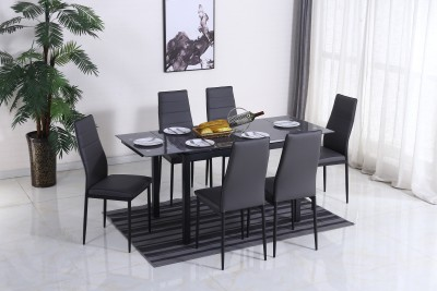 Flipkart Perfect Homes Cayman Extendable Metal 6 Seater Dining Set(Finish Color - Black And Grey)