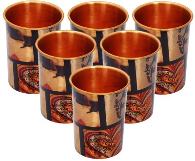 IndianArtVilla Set of Printed Designer Copper Glasses ,Each 300 ML Drinkware Glass Set(Copper, 300 ml, Brown, Pack of 6)