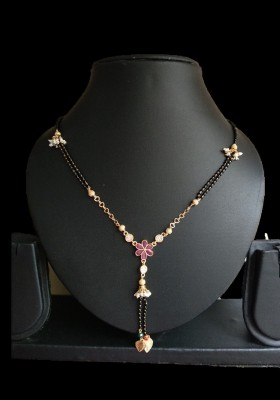Nilkanth Excellent Quality Pink Flower Mangalsutra For Women Mother of Pearl Mangalsutra