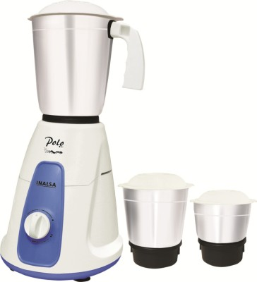 Inalsa Polo POLO 3 JARS 550 W Mixer Grinder(White, Blue, 3 Jars)