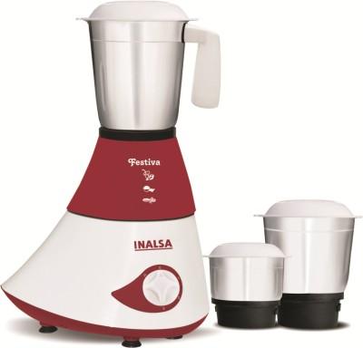 Inalsa Festiva 750 W Mixer Grinder(White, Maroon, 3 Jars)