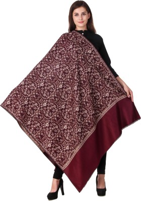 KLAXXY Wool Printed Women Shawl(Maroon)