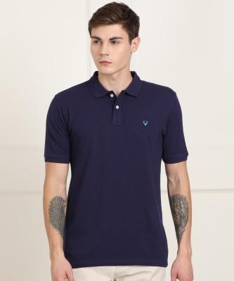 Allen Solly Solid Men Polo Neck Dark Blue T-Shirt