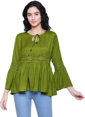FMC Casual Bell Sleeve Solid, Lace Women Light Green Top