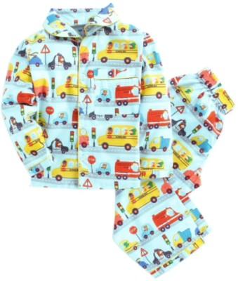 Knitting Doodles Kids Nightwear Boys & Girls Printed Cotton Blend(Light Blue Pack of 1)