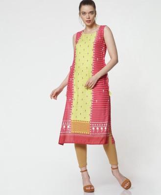 Morpankh Women Printed Straight Kurta(Red)