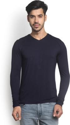 Blackberrys Solid Men V Neck Blue T-Shirt