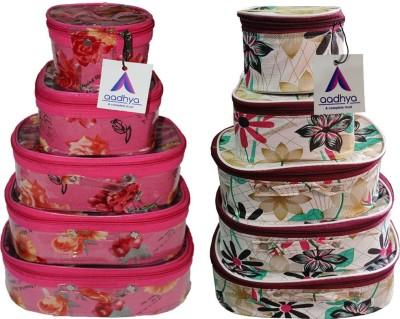 Aadhya Designer combo of makeup,bindi Multi purpose Vanity Box(White, Pink)