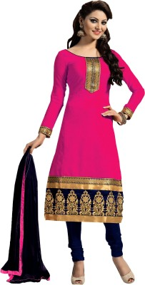 Zombom Poly Chanderi Embroidered Salwar Suit Material(Semi Stitched)