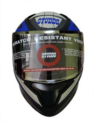 Studds Thunder D4 Decor Motorbike Helmet(D4 Matt Black N1 Blue)