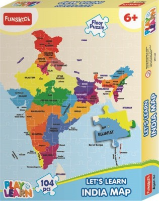 Funskool India Map Puzzles Learning Game 104 Pieces Funskool Puzzles