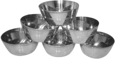 E-TREE Steel Vegetable Bowl(Silver, Pack of 6)