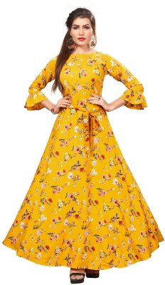 New Ethnic 4 You Anarkali Gown(Yellow)