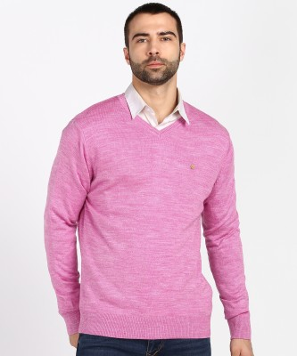 Numero Uno Solid V Neck Casual Men Pink Sweater