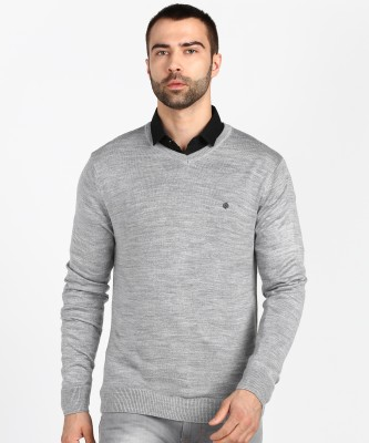 Numero Uno Solid V Neck Casual Men Grey Sweater