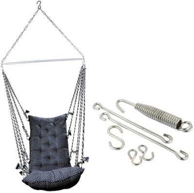 Smart Beans Black Hammock With Accessories Cotton Swing(Black)