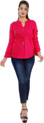 Silkova Casual Bell Sleeve Solid Women Pink Top