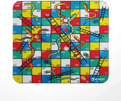 Jbn Snakes & Ladders Board | Premium Gaming Mousepad | Anti-Slip Rubber Base Mousepad(Multicolor)