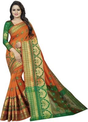SATYAM WEAVES Woven Banarasi Cotton Silk Saree(Orange)